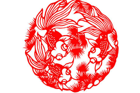 papercut: The traditional paper-cut fish on the white