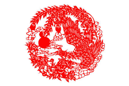 kirigami: The traditional paper-cut the Chinese phoenix on the white Stock Photo
