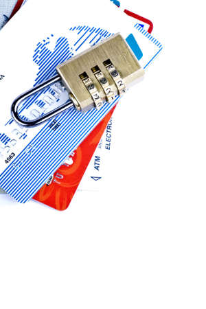 Credit card and combination lock for a security concept Stock Photo - 3565089