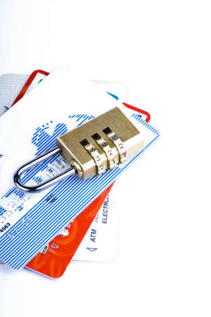Credit card and combination lock for a security concept  Stock Photo - 3565088