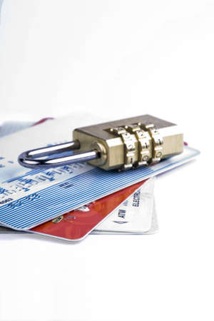 Credit card and combination lock for a security concept  Stock Photo - 3565077