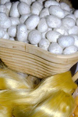 silken: white silk cocoons in a basket
