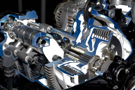 vehicle accessory: Gearbox cut-through view  Stock Photo