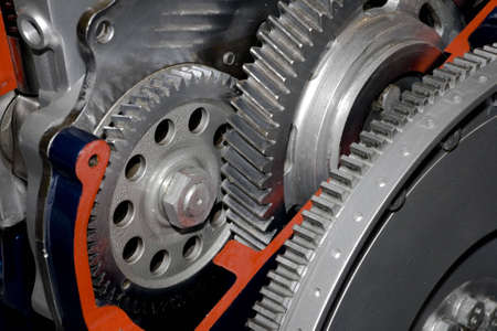 machine part: Gearbox cut-through view  Stock Photo