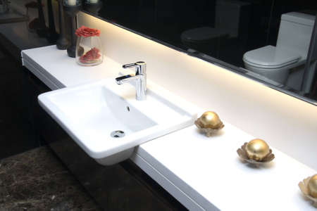 modern bathroom with sinks and mirror Stock Photo
