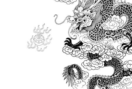scaly: chinese dragon with white background