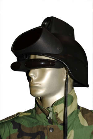Special force soldier with helmet on white  photo