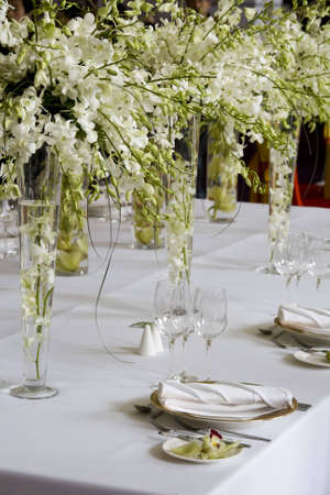 Banquet table setting for wedding in china                                Stock Photo