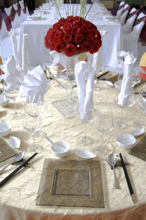 dish cloth: Banquet table setting for wedding in china                                Stock Photo