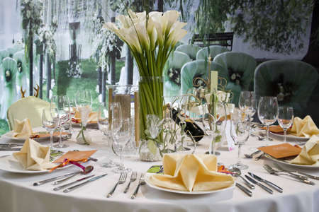 banquets: Banquet table setting for wedding in china                                Stock Photo