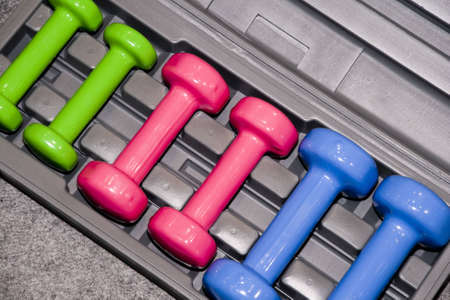 Closeup of colorful dumbbells in a gym or studio Stock Photo - 4741284