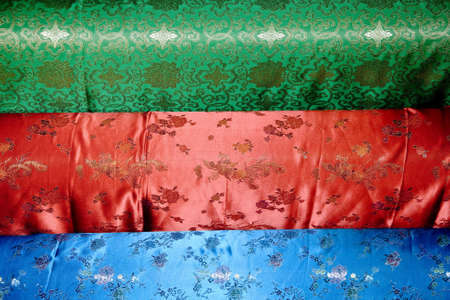 colorful chinese silk in a market photo