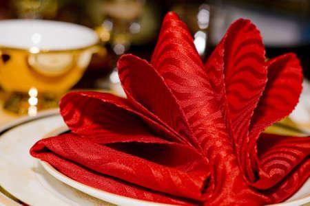 Napkin in the plate - wedding dinner photo