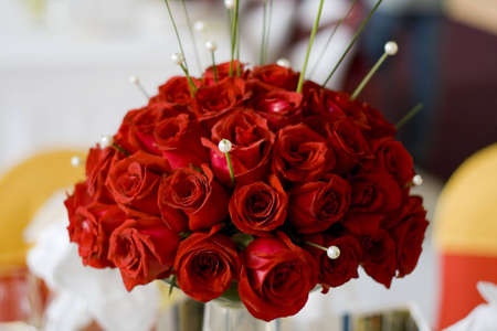 Large bouquet of red roses photo