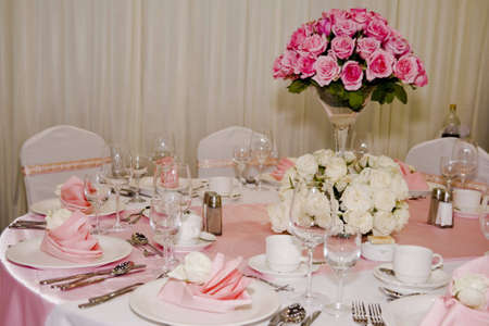 serving utensil: Banquet table setting for wedding in china                                Stock Photo