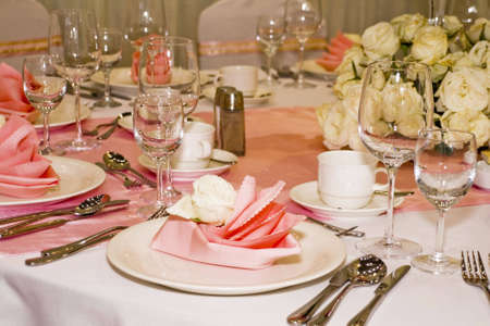 Banquet table setting for wedding in china                                photo