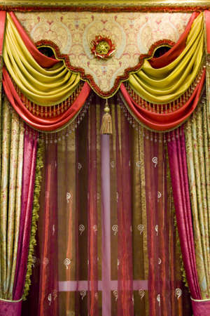 yellow tassel: curtain with an ornament in the modern house