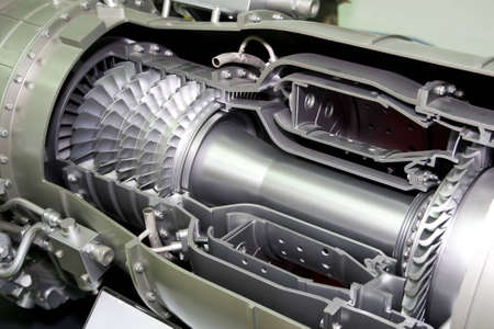 chamber of the engine: a aircraft jet engine detail in the exposition