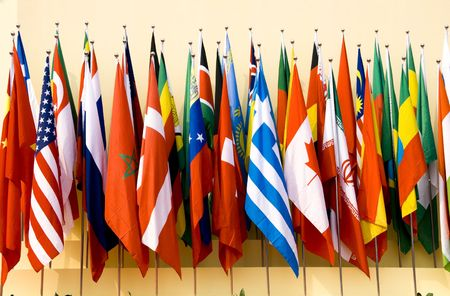 america flag: Colorful flags of a variety of nations Stock Photo
