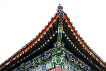 Chinese design on roof details of palace  photo