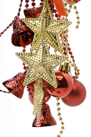 Christmas tree decorations balls and bells on a white background photo