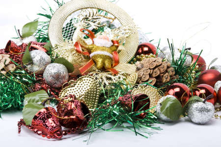 Christmas tree decorations on a white background photo