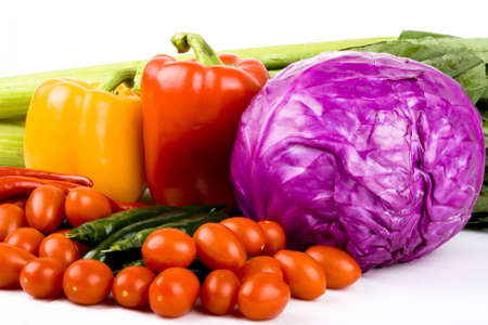 assemblage: Colorful Fresh Group Of Vegetables on white background