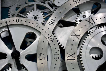 numeral: Closeup of gears from clock works.