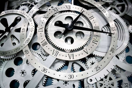 clock gears: Closeup of gears from clock works.