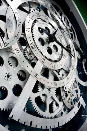 Closeup of gears from clock works.