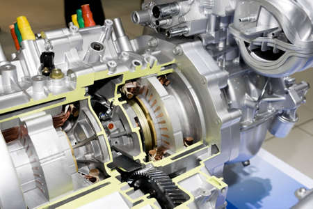 High technology of electric automobile engine Stock Photo