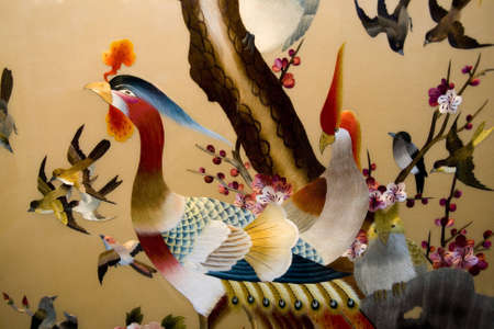 silk thread: Colorful embroidery of bird in china