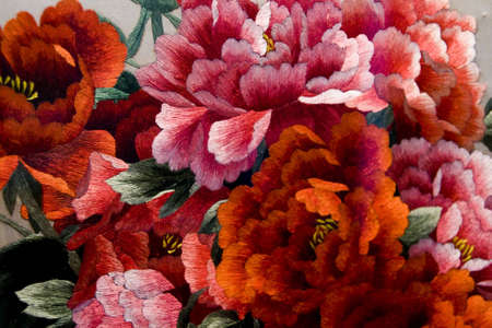 Colorful embroidery of peony in china