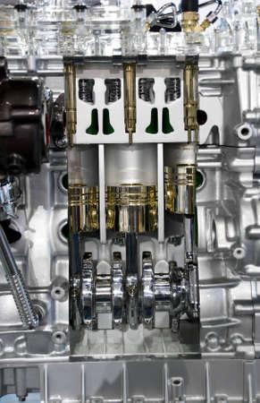 camshaft: Complex engine of modern car interior view