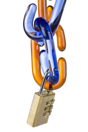 Glass chain links and combination lock on white background photo