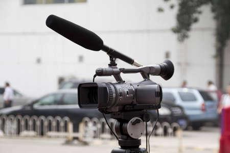 newsroom: video camera for news tv broadcasting