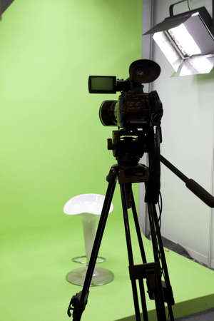 video production: close up of video camera in TV studio