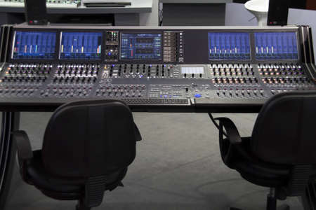 professional audio mixer desk at the studio  photo