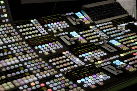 mixing: audio mixer and video editing workstation