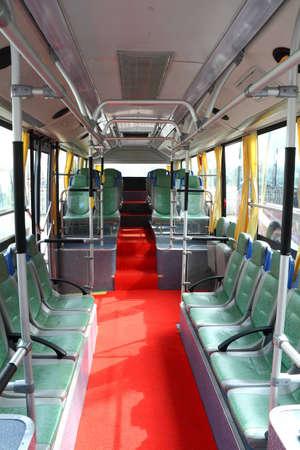 city bus interior,no passengers  Stock Photo