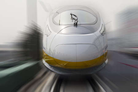 commuter train: Modern high speed bullet train in China Editorial