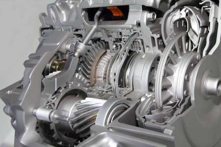 car part: Automotive transmission gearbox with lots of details
