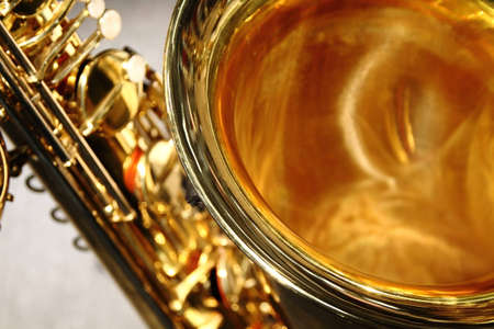 Detailed close up of saxophone bell with keys behind Stock Photo - 13866354