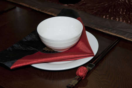 cooking ware: Empty porcelain plate with chopstick in china