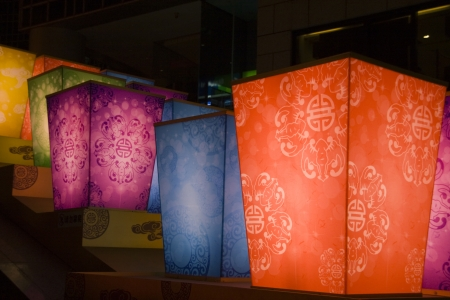The traditional lanterns at night for chinese new year photo