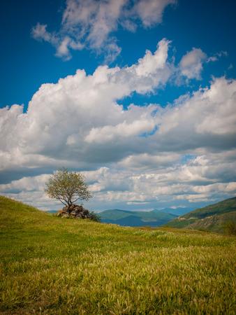 Panoramic view of the Caucasus mountains in Georgia