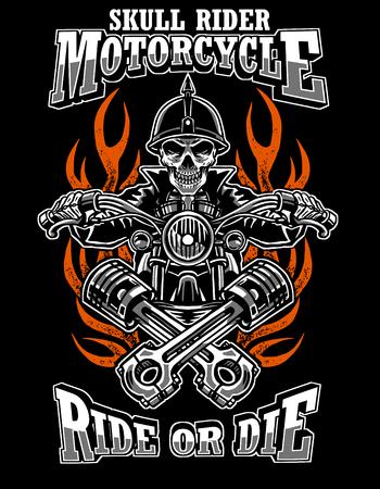 Illustration skull rider custom motorcycle, emblems, t-shirt design, labels, badges, prints, templates, Layered, Easy rider isolated on black background