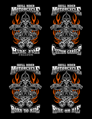 4 set illustration skull rider custom motorcycle, emblems, t-shirt design, labels, badges, prints, templates, Layered, Easy rider isolated on black background
