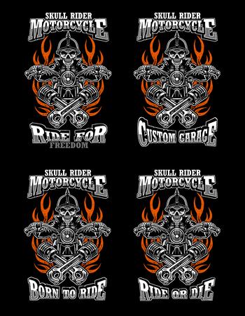 4 set illustration skull rider custom motorcycle, emblems, t-shirt design, labels, badges, prints, templates, Layered, Easy rider isolated on black background