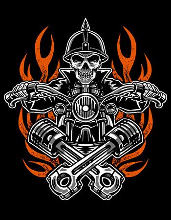 Benutzerdefiniertes Motorrad des Illustrationsschädelreiters, Embleme, T-Shirt-Design, Etiketten, Abzeichen, Drucke, Schablonen, geschichteter, einfacher Fahrer lokalisiert auf schwarzem Hintergrund